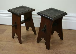 Antique Pair Two 2 Arts Crafts Oak Stool Benches Bar Chairs Coffee Side Tables