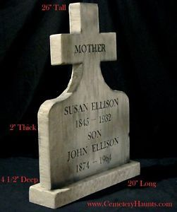 Mother Son Halloween Tombstone Cemetery Prop Graveyard Haunted Horror Real