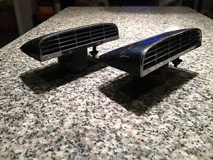 Vintage Hood Side or Rear Air Vent Scoops Metal Housings Chrome Grills