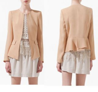 New Women's Fashion Collarless Slim Suit Blazer Coat Jacket with Frill Waist