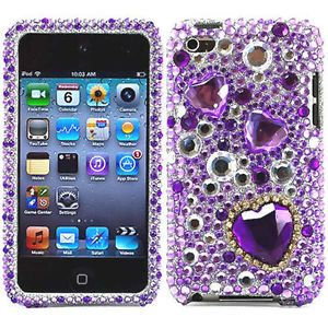 Purple Heart Bling Hard Case Cover for Apple iPod Touch 4 4G 4th Gen Accessory