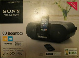 Sony ZS S3IPN Am FM Radio CD Player Boombox with iPod iPhone Lightning Dock