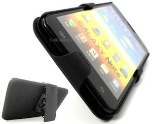 For Samsung Galaxy Note Black Belt Clip Holster Stand Hard Cover Case i9220 at T