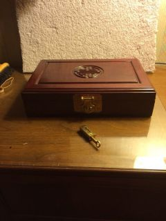 Oriental Chinese Lacquer Wood Jewelry Box with Lock Key