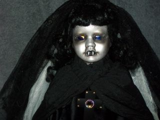 OOAK Horror Gothic Porcelain Doll Vampire Bride Halloween Prop Handmade Clothes