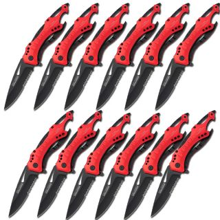 Set of 12 Fire Rescue Knife Serrated Black Blade Bottle Opener Glass Breaker Red