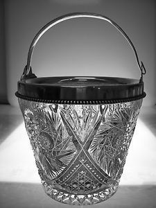 American Brilliant Cut Glass Crystal Antique Fine Ice Bucket Sterling Silver Rim