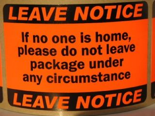 Leave Notice Warning Stickers Labels Mailing Shipping USPS UPS FedEx