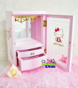 Cute Hello Kitty Wooden Jewelry Box Music Box Cosmetic Case Pink