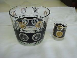 Vintage Coin Medallion Black Gold Glass Ice Bucket Libbey Shot Glass Bar Ware