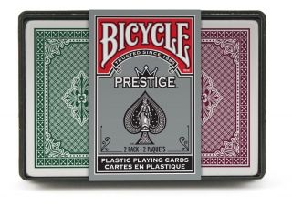 Bicycle Prestige 2 Pack Bridge Poker Regular Jumbo Index Dura Flex Plastic Card