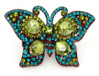 Zentosa Jewellery Blue Green Crystal Butterfly Cocktail Ring