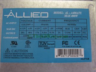 Apex Allied Al A400ATX 400W 400 Watt 20 Pin 4 Pin ATX12V Dual Fan Power Supply