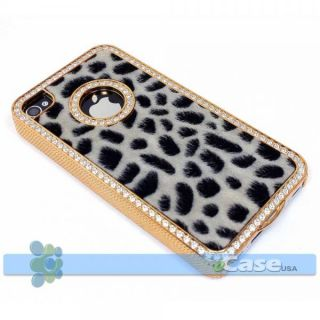 White Fur Black Cheetah Leopard Print Diamond Crystal Bling Case iPhone 4 4S New