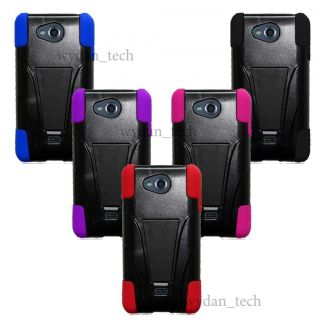 For LG Spirit 4G MS870 Hybrid Hard Silicone Case Y Kickstand Trapezoid Cover