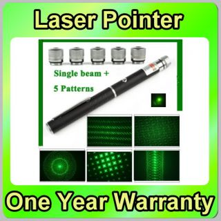 6 in 1 5mW 532nm Green Laser Pointer Single Beam 5 Patterns Star Caps