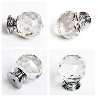 8pcs 30mm Diamond Crystal Glass Door Knobs Drawer Cabinet Kitchen Handle US