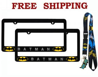 New Batman Classic Logo Car Truck License Plate Frames Lanyard Keychain