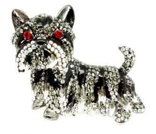 Butler Wilson Pewter Black Enamel Crystal Westie Dog Brooch