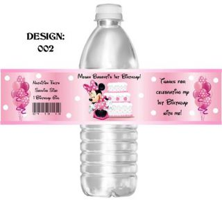Waterproof Mickey Minnie Mouse Birthday Water Bottle Labels Party Favors