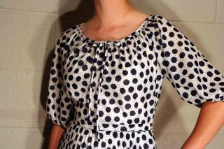 Sz s Vtg 70s Sheer Peasant Top Pleated Skirt White Navy Blue Polka Dot Dress