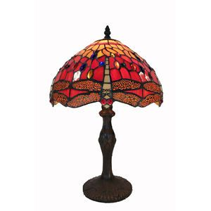 Tiffany Style Red Dragonfly Table Lamp Light Lights New