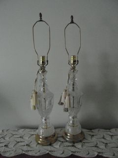 Mid Century Pair of Large Hollywood Regency Crystal Glass Brass Lamps