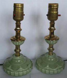 Pair of Vtg Jadeite Green Glass Table Lamps