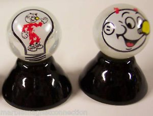 2 Reddy Kilowatt Light Bulb Pearl Collector Marbles