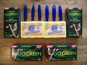 Perf Go Green Biodegradable Cat Pan Liners Large Qty 4 and Six Lint Rollers