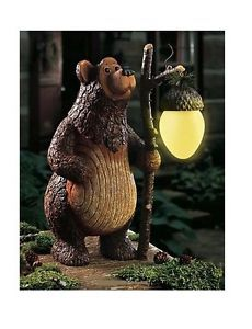 Bear Woodland Statue Solar Lighted Acorn Lantern Garden Lawn Ornament Yard Decor