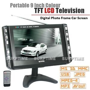 Portable 9 inch AV TV VGA 3in1 Car LCD Screen Monitor SD USB Remote 2CH Audio