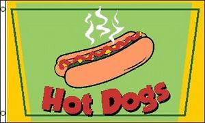 Hot Dogs Flag 3x5 ft Advertising Sign Food Concession Snack Bar Picnic Hotdog