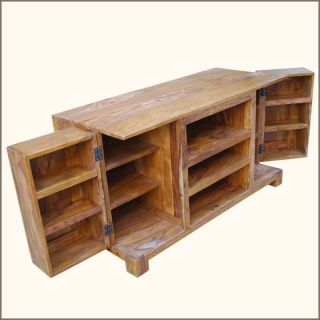 Rustic Solid Wood Media Console Entertainment Center TV Stand Storage Cabinet