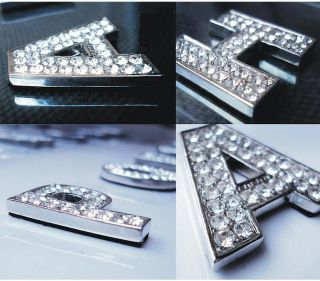 DIY Car Auto 3D Metal Crystal Diamond Emblem Badge Sticker Decal Letters Number
