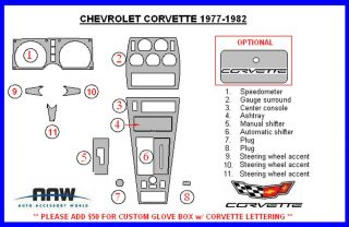 Chevrolet Corvette Chevy C3 C 3 Interior Wood Dash Trim Kit 1977 1978 1979 1980