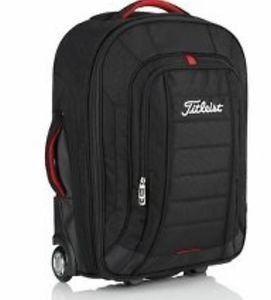 Titleist 2013 Black Red White Wheeled Roller Carry on Luggage Travel Gear