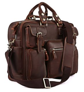 Dark Brown Color RARE Crazy Horse Leather Men's Briefcase Laptop Bag 16 5""