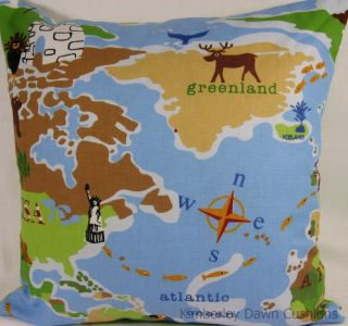 Large Prestigious World Map Childrens Green Polka Dot Blue Boys Cushion Cover