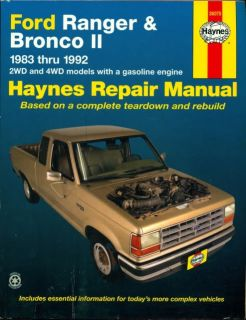 1983 1984 1990 1991 1992 Ford Ranger Ford Bronco II Auto Repair Manual by Haynes 1563920662