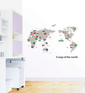 World Atlas Map Adhesive Removable Wall Decor Accents Sticker Decal Vinyl