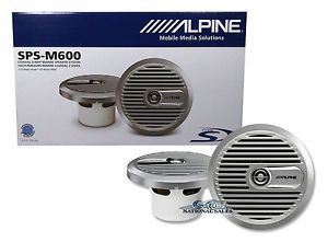 "Alpine SPS M600 6 5"" 2 Way 220 Watt Marine Boat Audio Speakers Water Resistant"