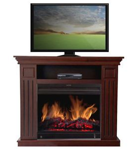Cherry Wood TV Fireplace Heater Media Console Storage Stand Entertainment Center