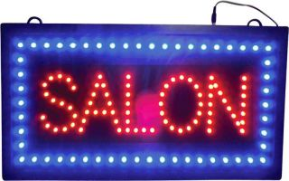 Illuminated Salon Display Multi Color LED Lit Hanging Window Sign Lighted Banner