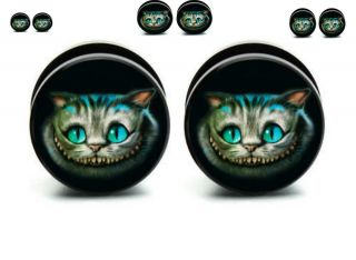 Pair Cheshire Cat Screw Back Ear Plugs Acrylic Ear Gauges Ear Plugs Flesh Tunnel