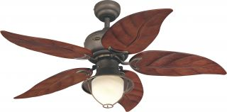 "Westinghouse 7861965 Oasis Bronze Outdoor 48"" Ceiling Fan w Light Pull Chains"