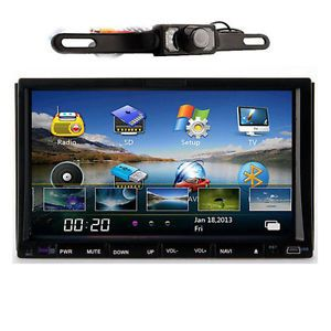 "New 7"" Indash 2 DIN Car Stereo DVD Player GPS Navigation iPod Bluetooth Camera"