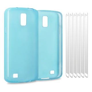 Clear Blue TPU Gel Jelly Rubber Case for Samsung I9295 Galaxy S4 Active w 6 LCD