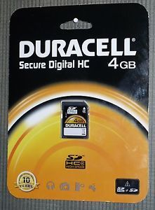 4GB Duracell Class 4SD HC High Speed Memory Card Secure Digital Camera Video Cam