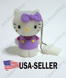 1 PC Purple Cute Hello Kitty Mini 8GB Flash Drive USB Keychain Memory Stick Ring